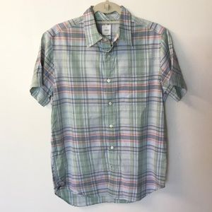 Gap Lived-In Short Sleeve Plaid Button Down - M